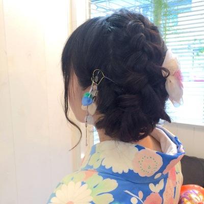 中崎町 美容室 RICCA 着物 編み込み ヘアアレンジ